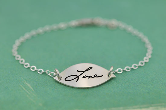 Sterling silver  Handwriting Petal Bracelet