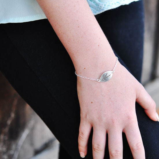 Handwriting Petal Bracelet on a model