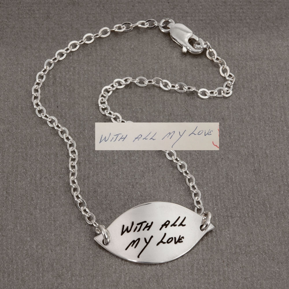 Sterling silver  Handwriting Petal Bracelet on white showing original handwriting used to make the bracelet
