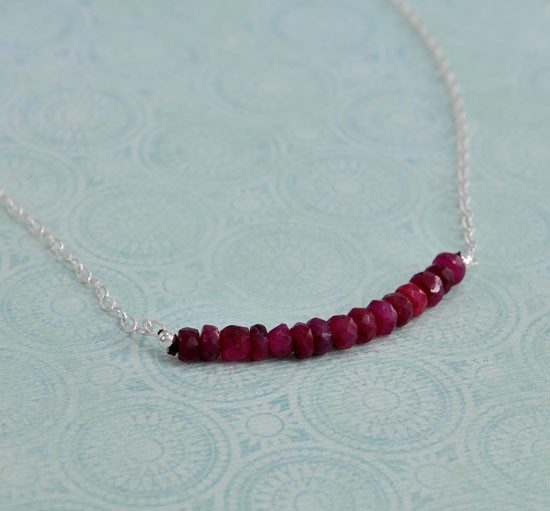 Mother's necklace with July birthstones