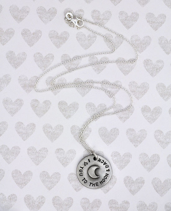 Pewter moon and back charm