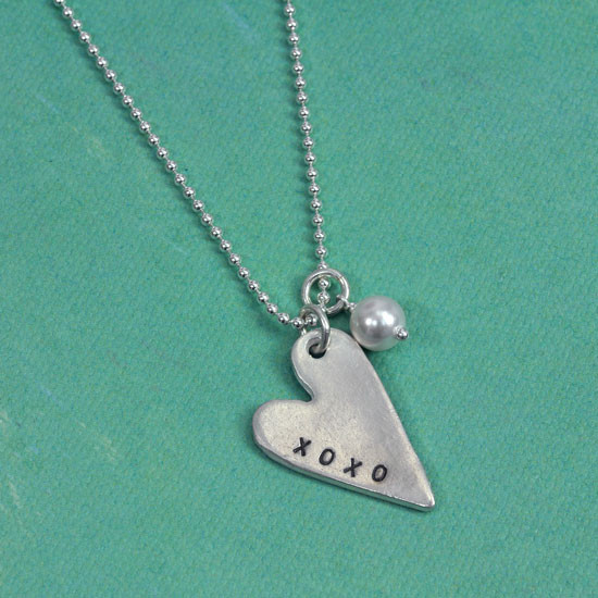 Hand stamped heart necklace