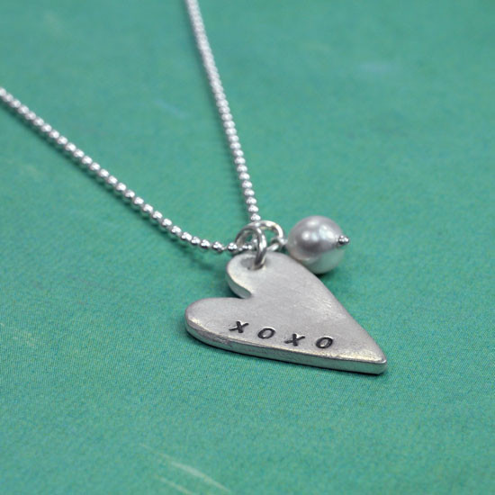 Hand stamped xoxo pendant