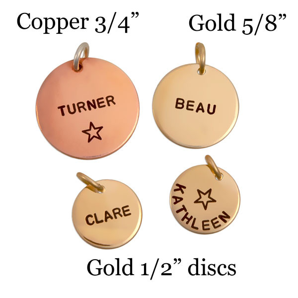 "Copper disc in 3/4"", gold discs in 5/8"" and 1/2"""