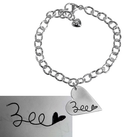 Handwritten name on heart bracelet