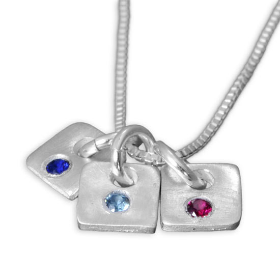Birthstone charms on a chain
