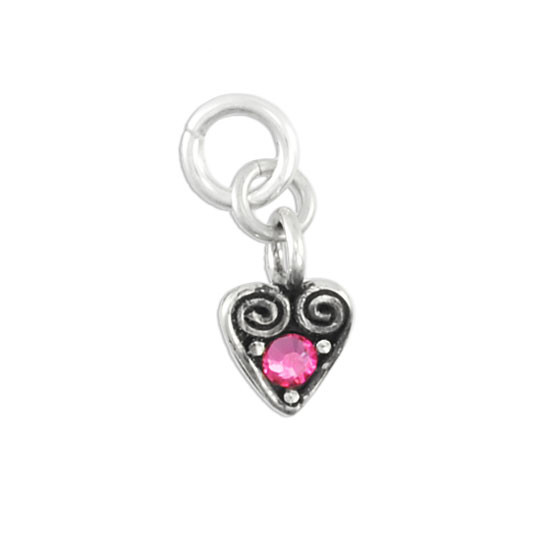 Heart Swirl Charm with October Birthstone