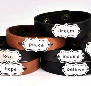 Hand stamped leather bracelet