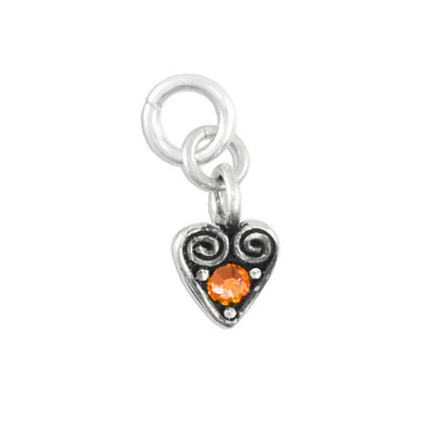 Heart Swirl Charm with November Birthstone