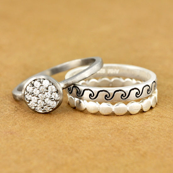Waves ring stacked with our Circles Ring and Marcasite Ring