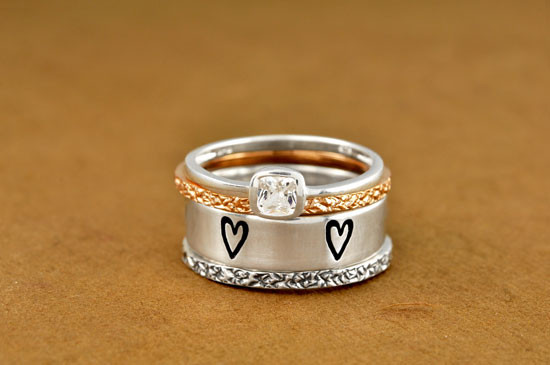 Stacked with our sparkly ring and wide band ring