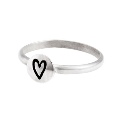 Hand stamped stackable ring with heart