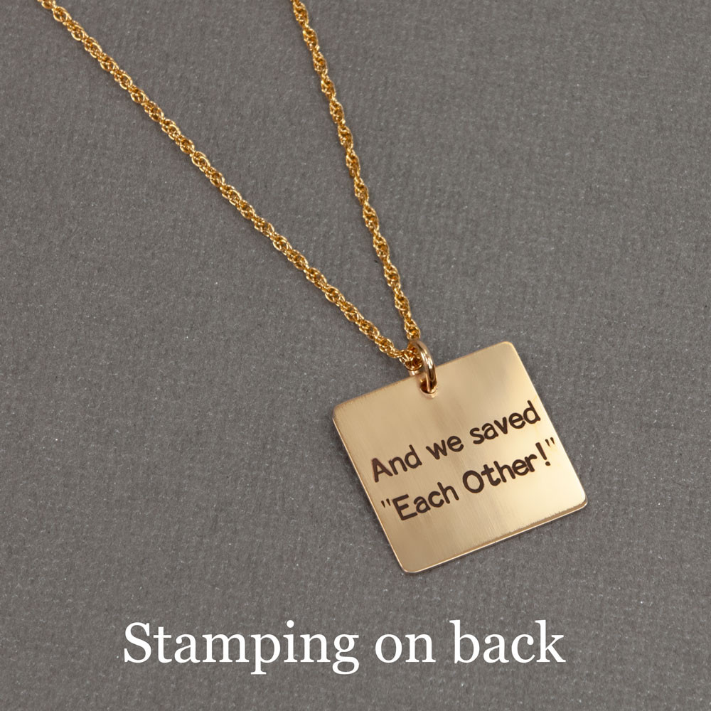 Custom Gold charm necklace with handwriting, shown with stamping on back