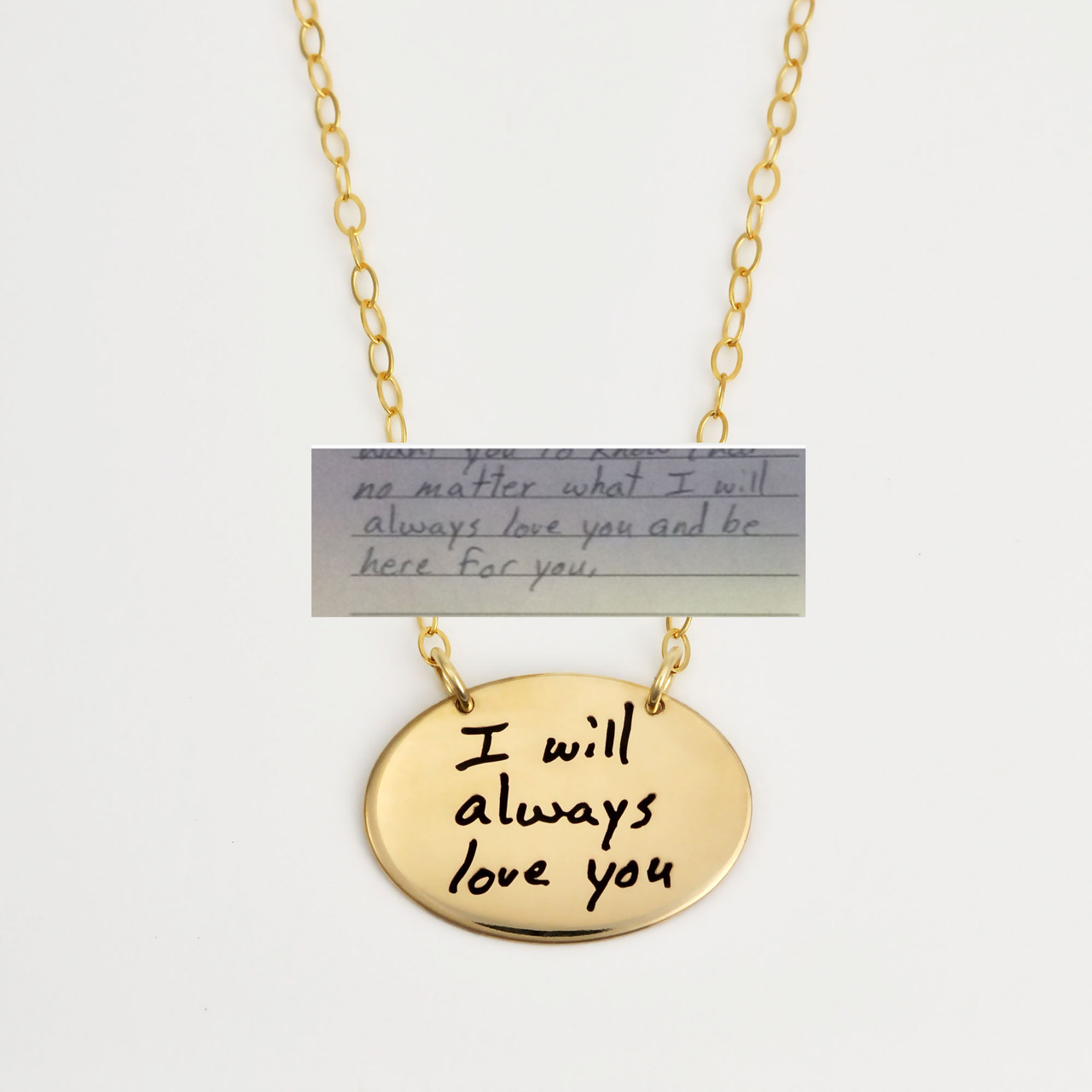 Gold oval necklace with your actual handwriting, shown on white, with original handwriting