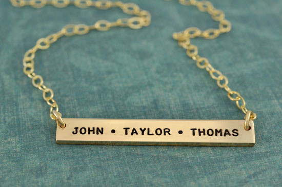 Hand stamped mommy necklace in gold