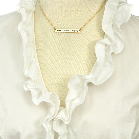 Hand stamped mom necklace in gold
