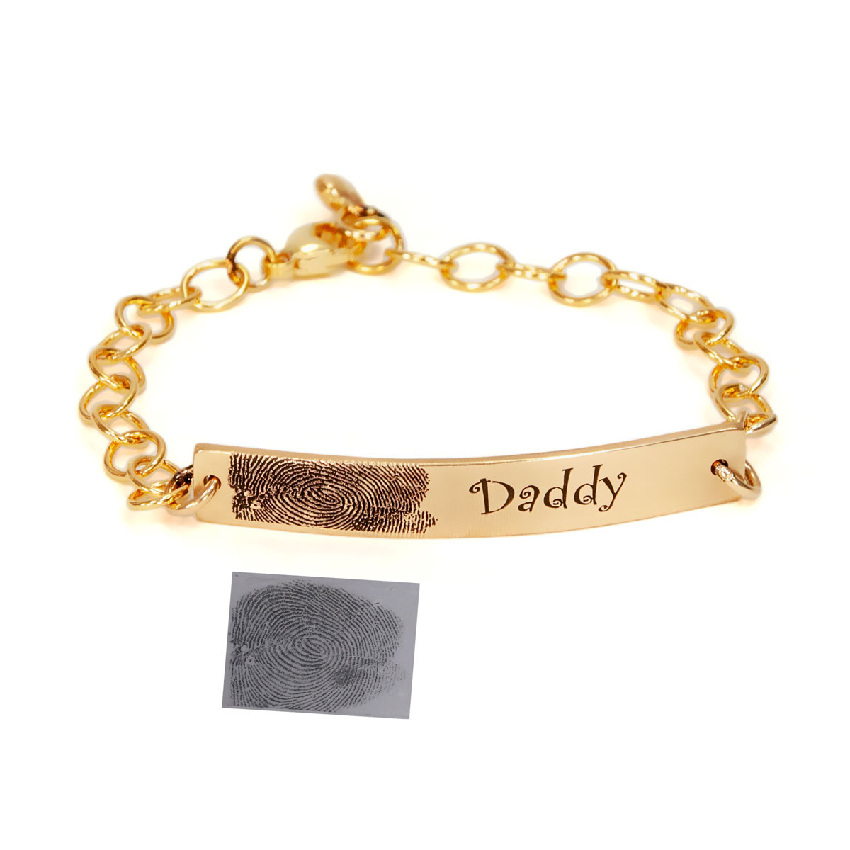 Gold handwriting ID bracelet, shown with a fingerprint