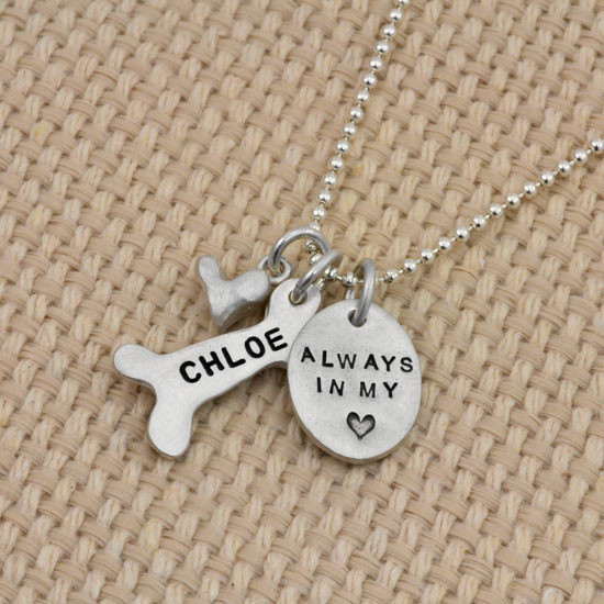 Always in my heart custom hand stamped necklace in fine silver, shown from the side