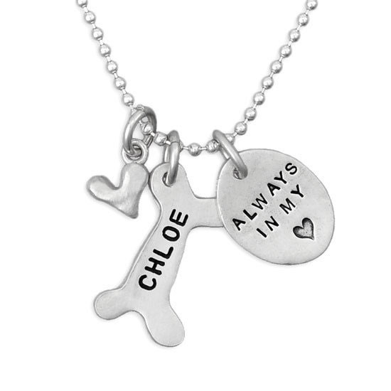 Pet lovers memorial silver necklace hand stamped with dog name