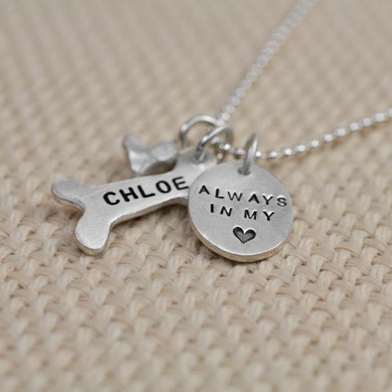 Always in my heart custom hand stamped memorial necklace in fine silver for pet lovers, shown from the side
