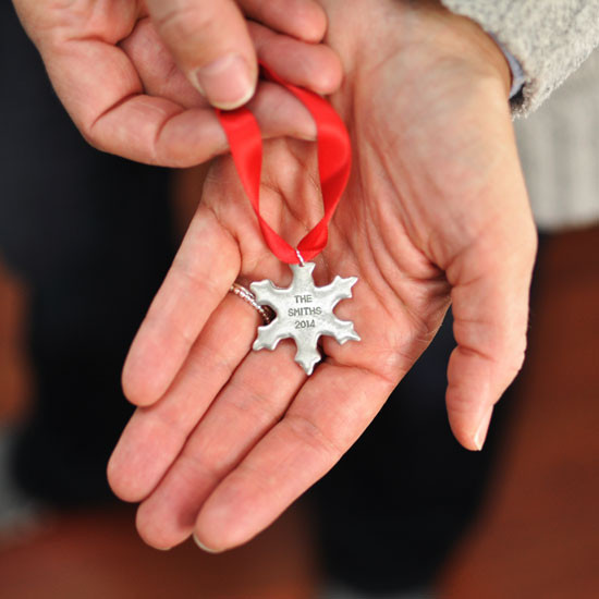 Personalized Snowflake Ornament in pewter