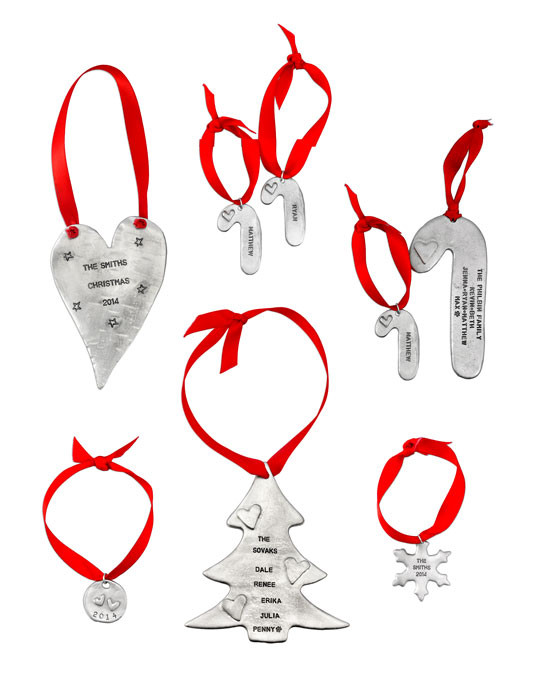 Personalized pewter ornaments