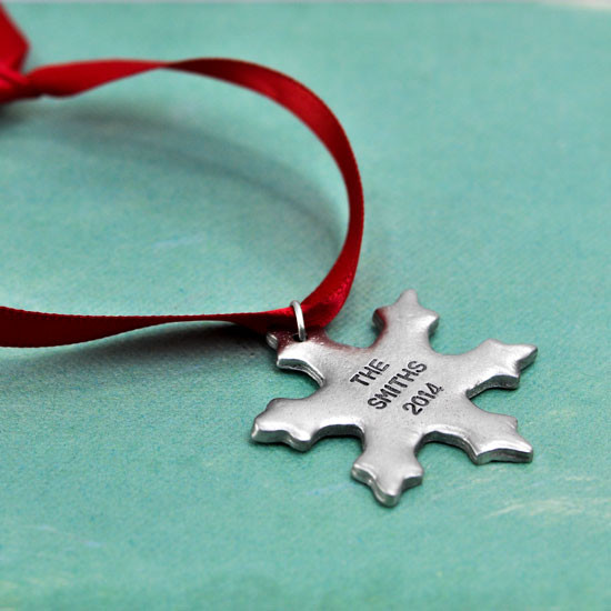Hand stamped pewter snowflake ornament
