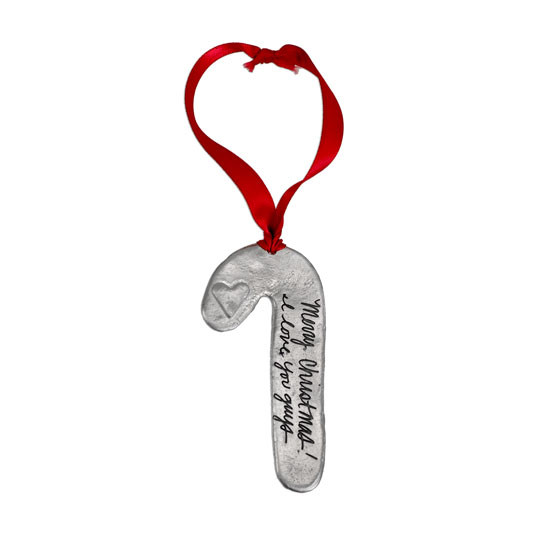 Custom handwriting personalized ornament in fine pewter, shown on white background
