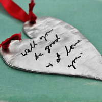 Your handwriting on an fine pewter ornament
