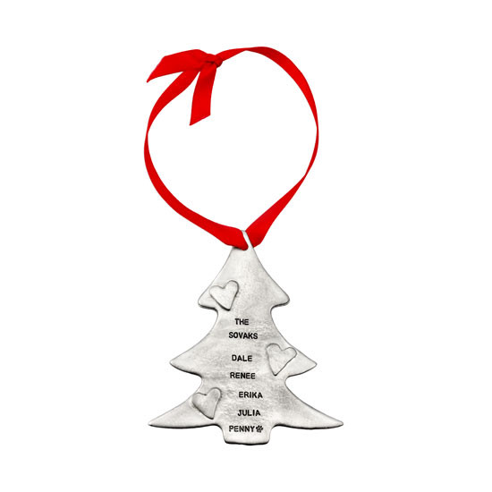 Hand stamped tree ornament