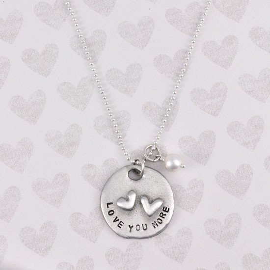 Love you more hand stamped necklace