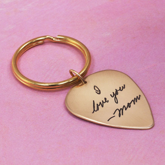 Gold signature memorial key ring, shown from the side