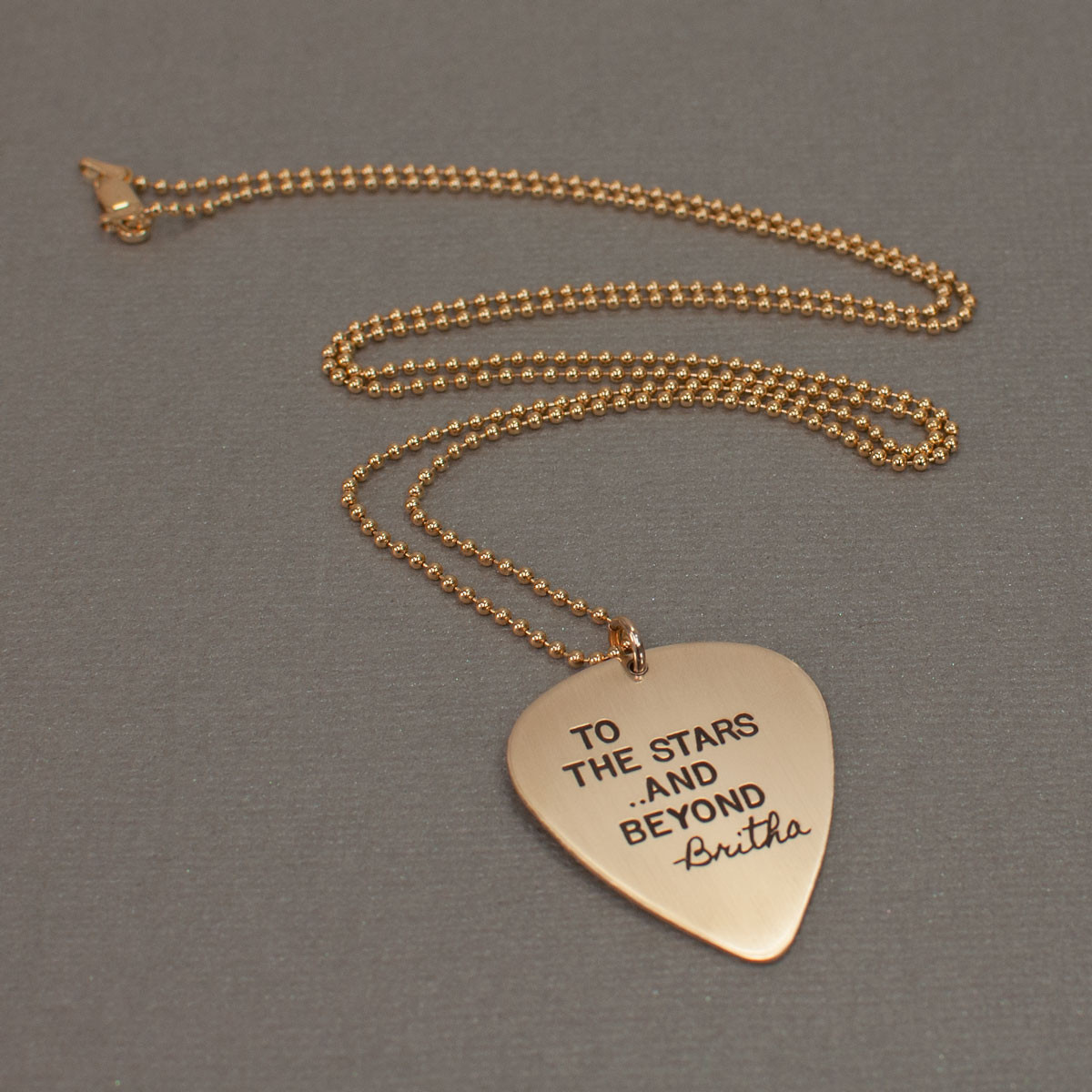 Gold guitar pick necklace with actual handwriting, with stamping, too