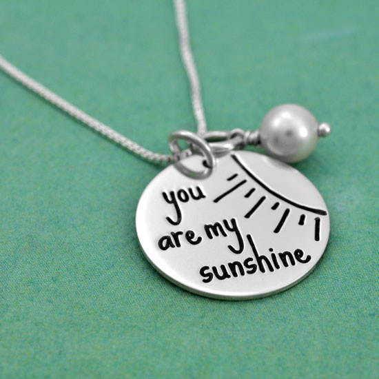 Sunshine necklace with personalization on back