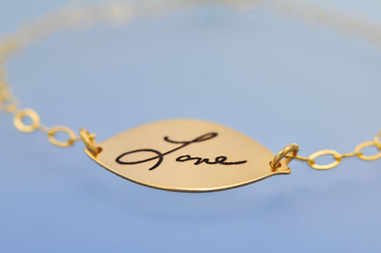 Gold filled handwriting bracelet