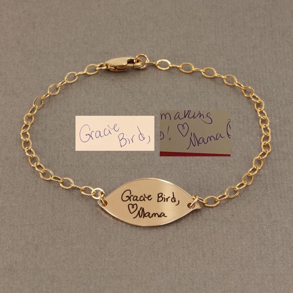 Sweet Petal Gold Handwriting Bracelet, shown with original handwriting used to create it