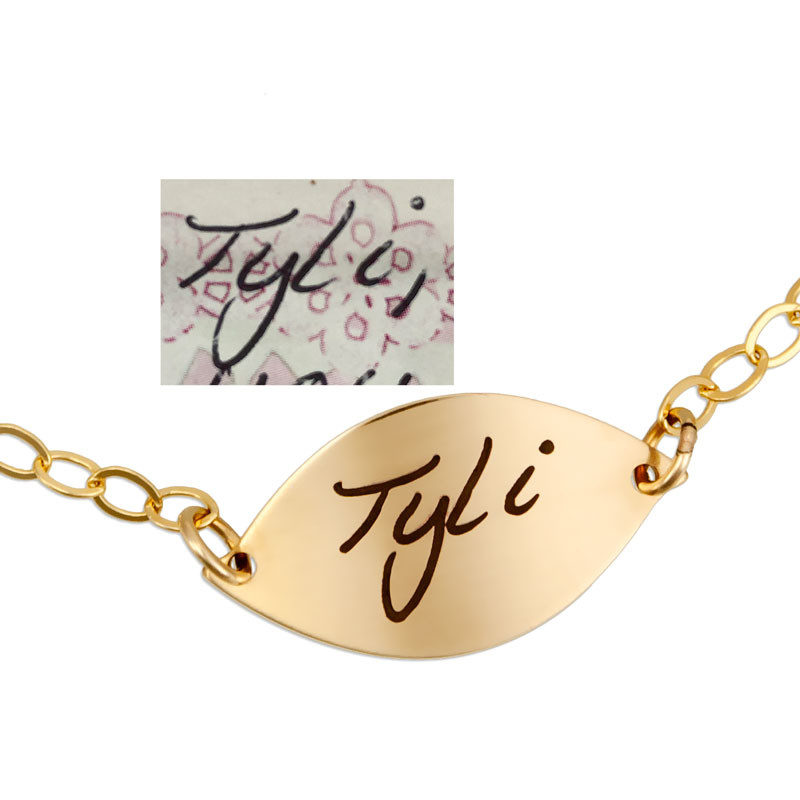 Sweet Petal Gold Handwriting Bracelet, shown on white with original handwriting used to create it
