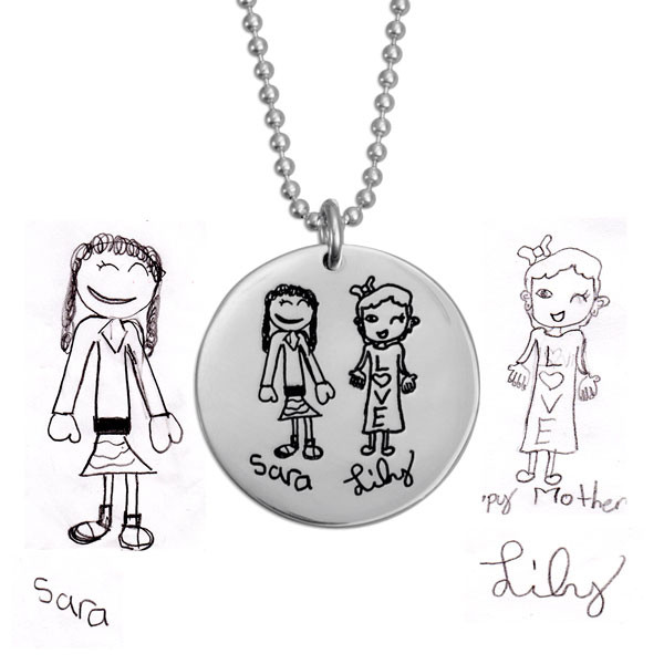 "Child's artwork on 7/8"" silver disc necklace, showing original artwork with girls Sara & Lily, close up"