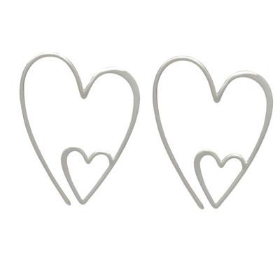Sterling double heart earrings