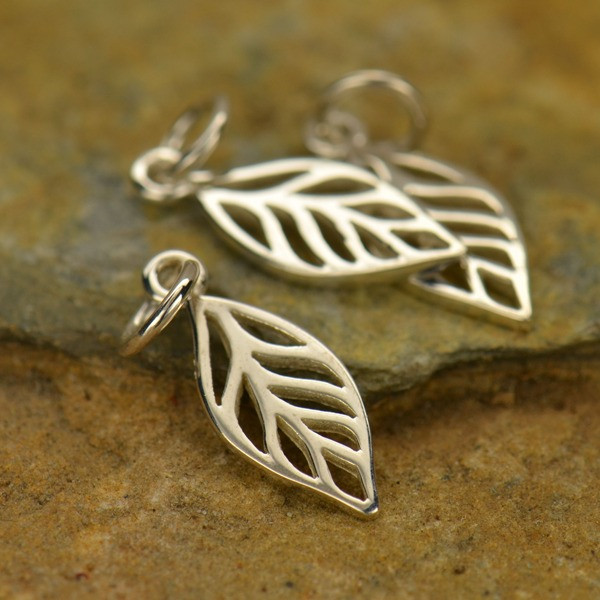 Sterling leaf charm