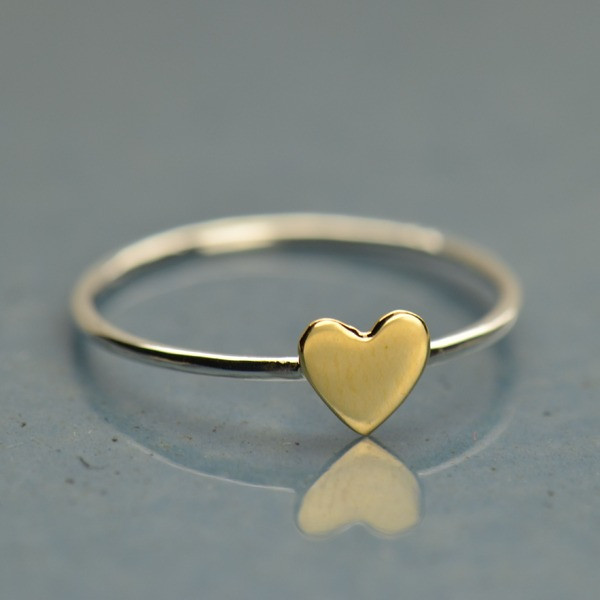 Bronze heart stackable ring