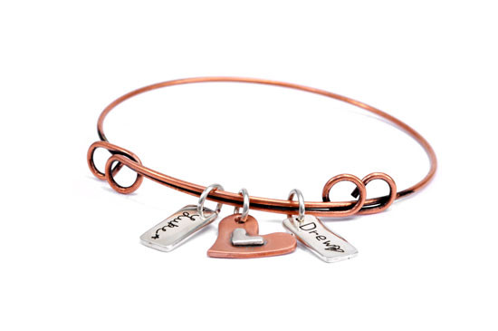 Handwriting charms on adjustable copper bracelet