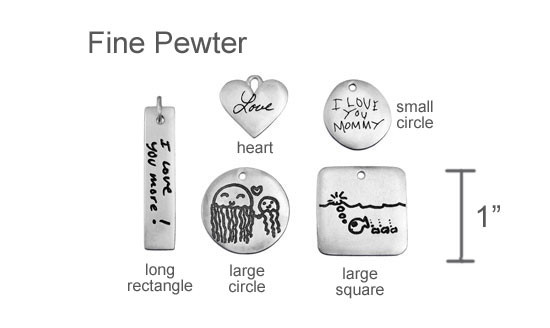 Pewter handwriting pendants