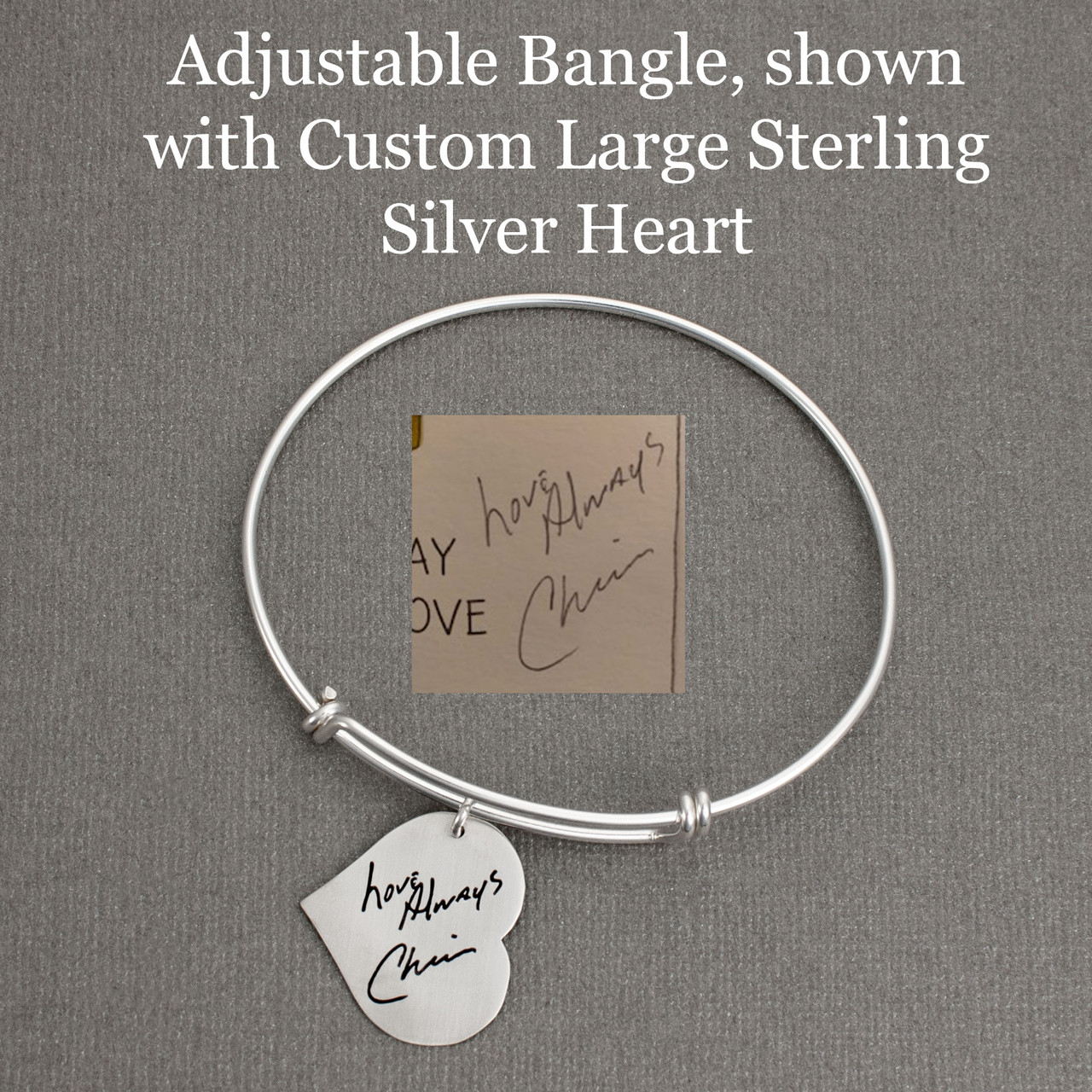 Adjustable Bangle, shown with Custom Large Sterling Silver Heart