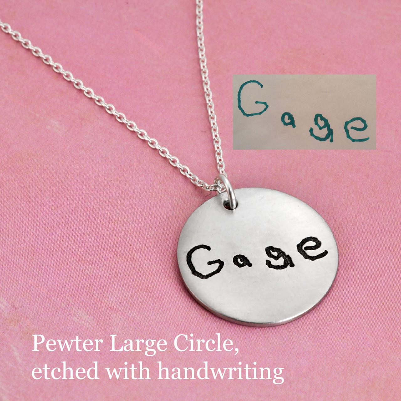 Pewter large circle with handwriting