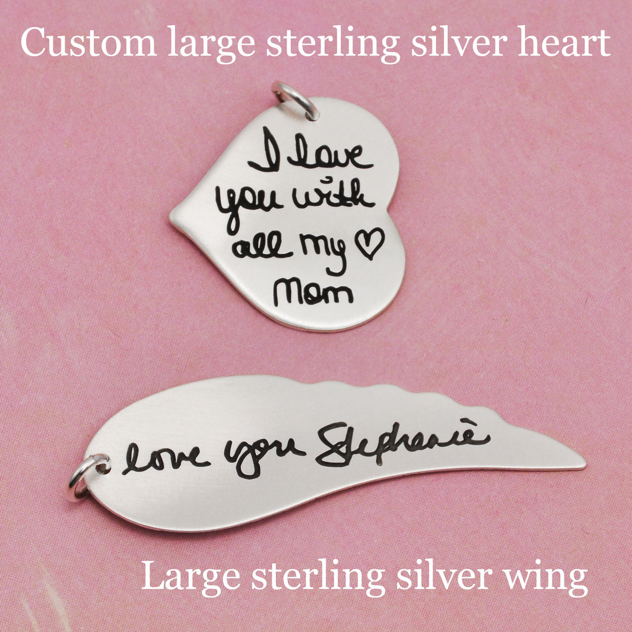 Custom large sterling silver heart and large sterling silver wing, shown with handwriting used to create the handwritten charms