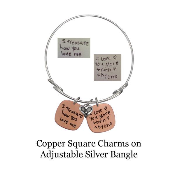 Copper squares on adjustable bangle