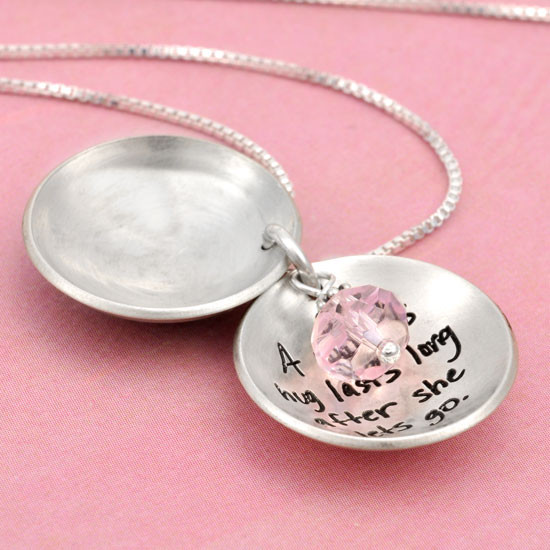 Silver Heart locket for mom with hand stamped message inside, shown open