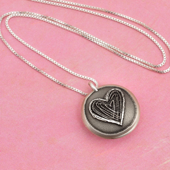 Silver Heart locket for mom with hand stamped message inside