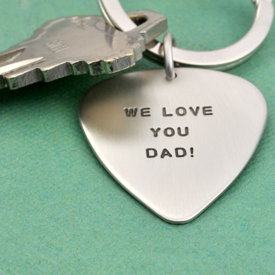 Hand stamped guitar pick key ring